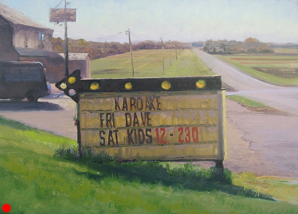 Karaoke at the Crossroads  Painted near Farmington, Minnesota in late October. SOLD