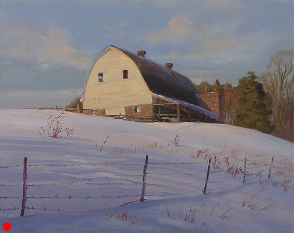 """White Barn , 16 x 20"""" oil on panel Painted in Burnett County, Wisconsin just after the holidays. SOLD"""