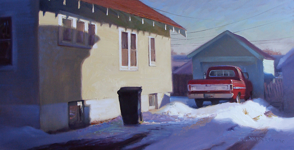 Sunlight on the Side of a House  18 x 36 oil on canvas In an interview with Edward Hopper, a young arts writer prefaced a question with some post-war-alienation-symbolism mumbojumbo. Hopper's response was that all he ever wanted to paint was sunlight on the side of a house.