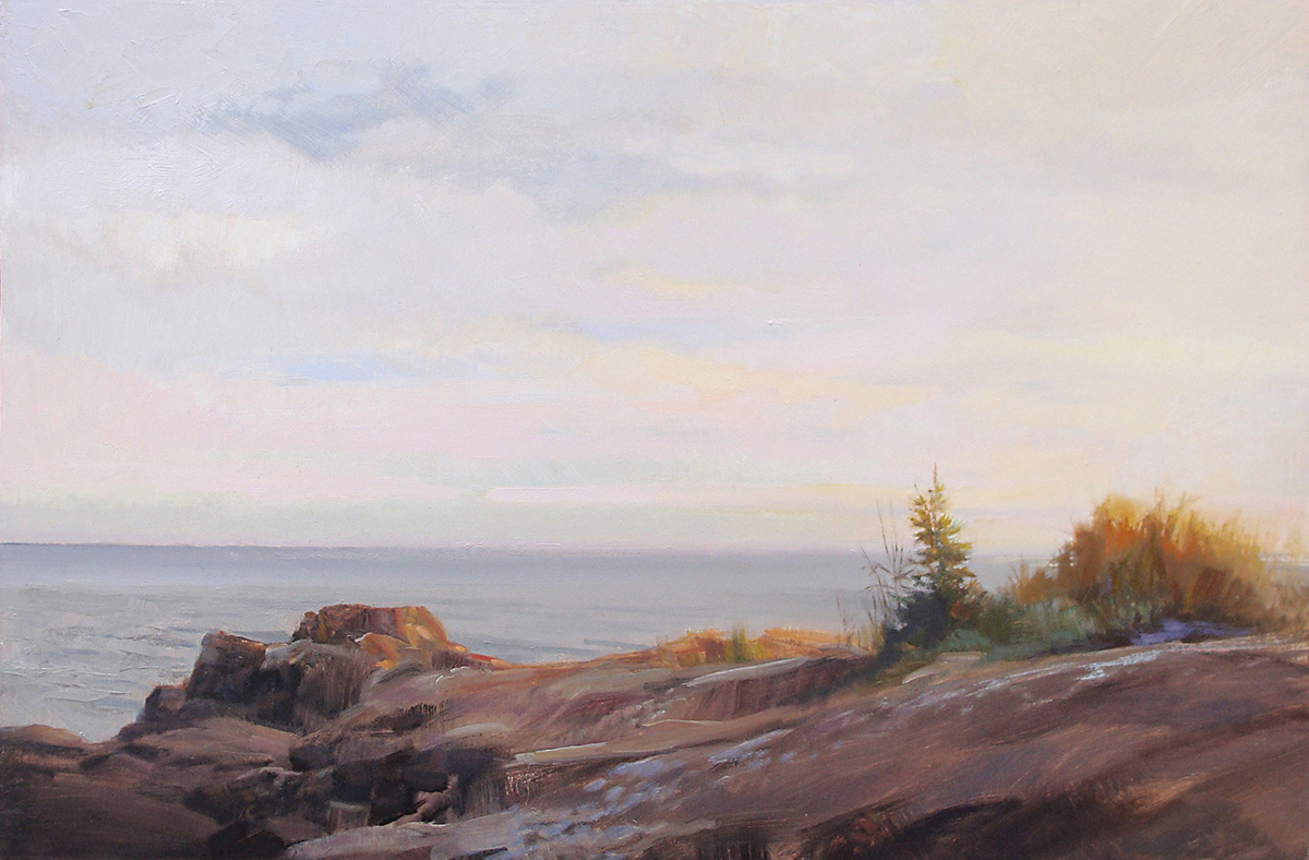 Late Sun on the Rocks, Superior Shore   24 x 36 oil on panel