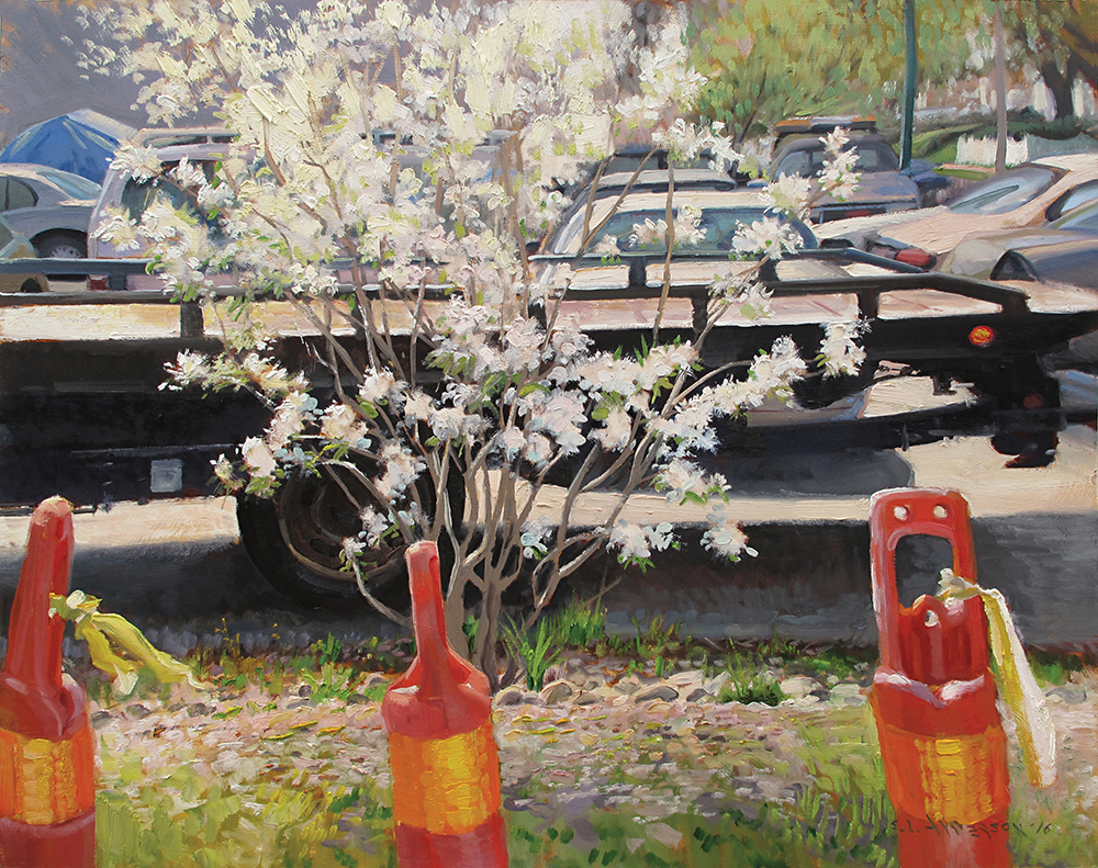 Spring Blossoms at the Garage  24 x 30 oil on panel