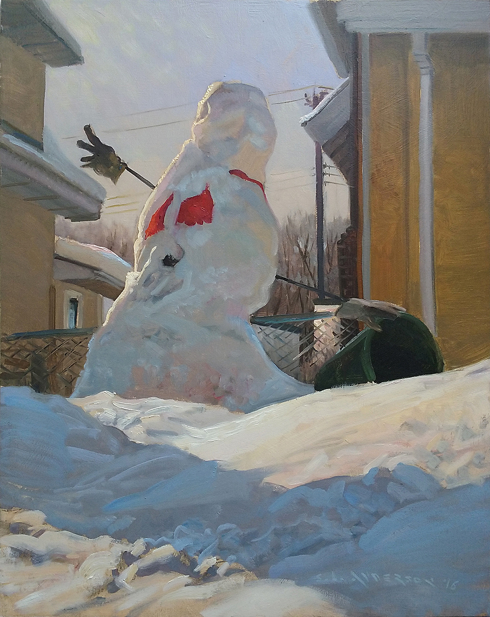 Snowperson 11, The Entertainer  30 x 24 oil on panel
