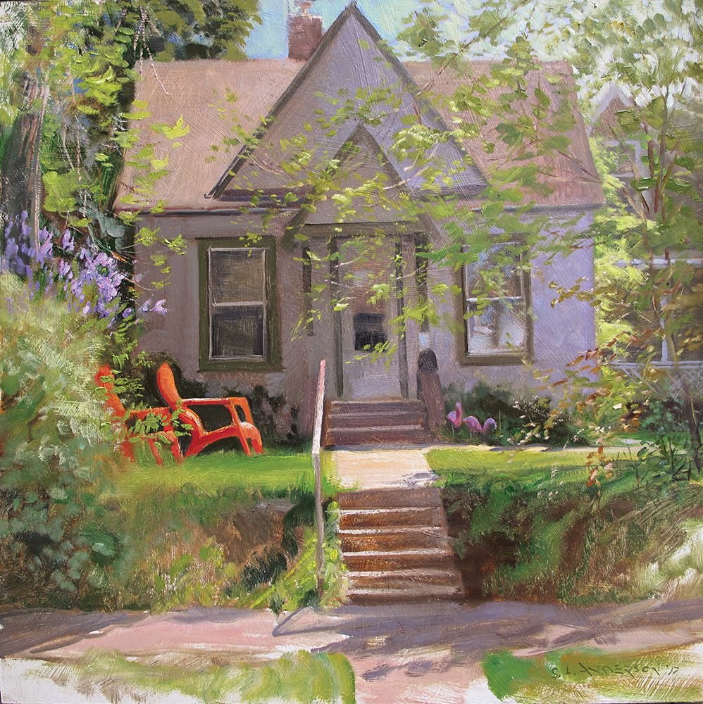 Red Lawn Chairs  30 x 30 oil on panel