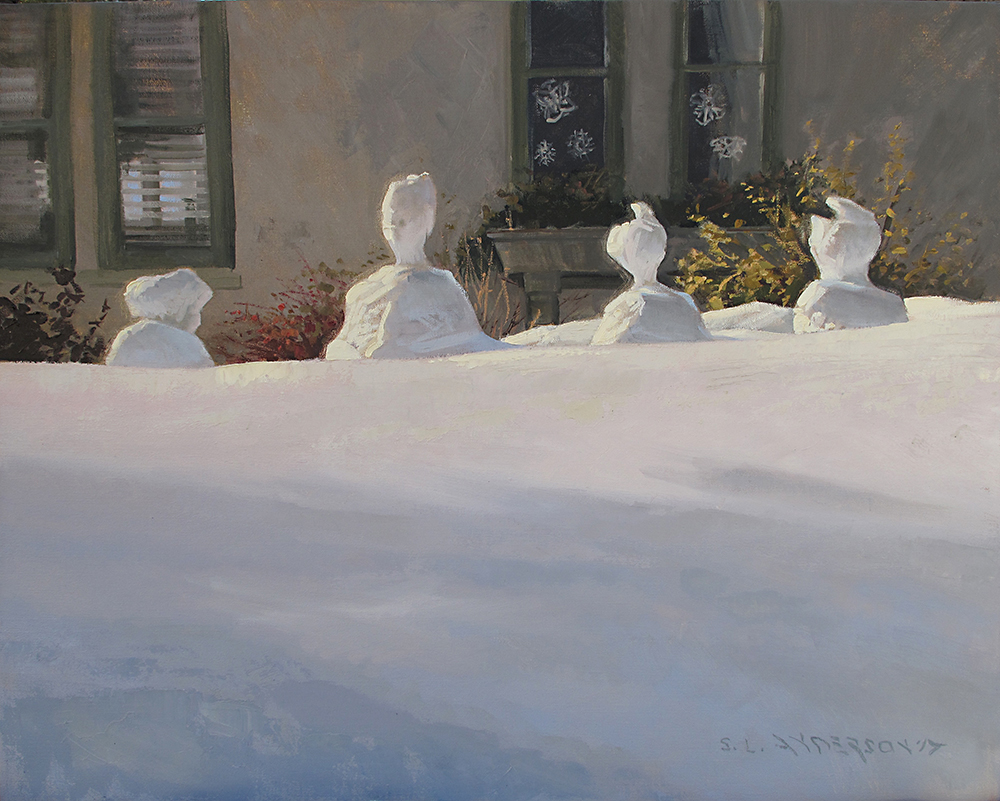 Snow Family Contemplates Its Predicament  24 x 30 oil on canvas