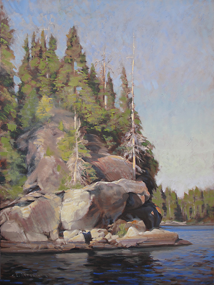 Trees and Boulders, Boundary Waters  40 x 30 oil on canvas