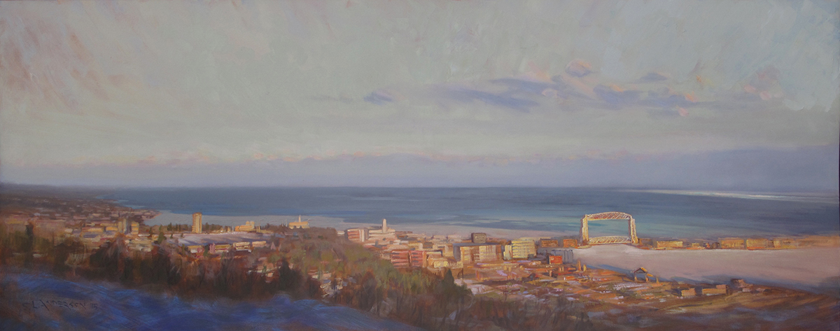 Duluth Overlook, February  26 x 67 oil on canvas