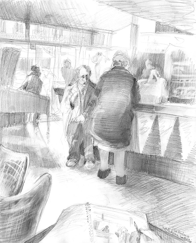 An old geezer trying to chat up a lady at a Parisian cafe´.