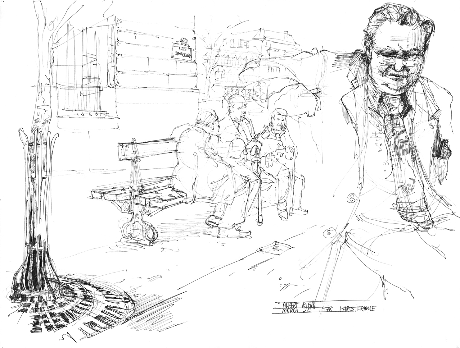 A gentleman named Albert Regal waxing political to his uninterested friends on a streetside bench.