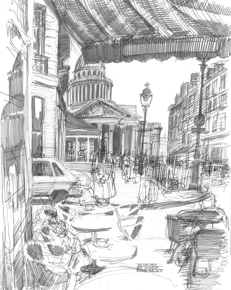 A view from a sidewalk cafe´down the street from the Pantheon in Paris.