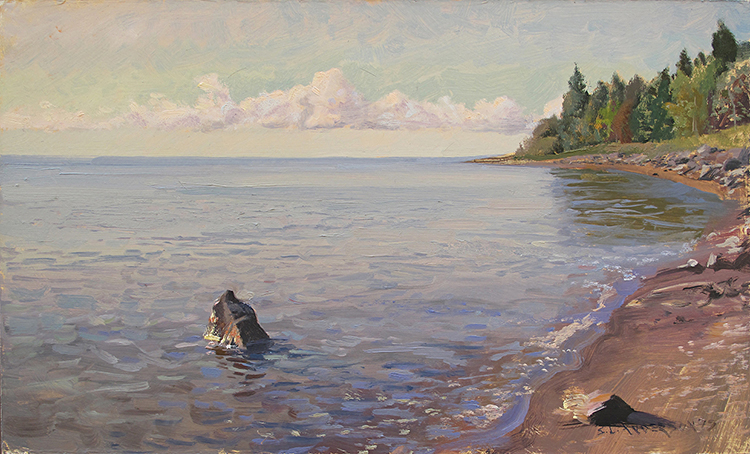 Lonely Rock on the North Shore , 12 x 20 oil on panel Painted on the shore of Lake Superior just north of Two Harbors, July, 2017.