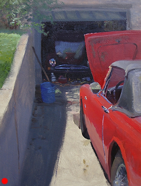 """Red Car, Driveway,  16 x 12 oil on panel I'm frequently attracted to extreme foreshortening on objects. That's a viewpoint from a steep angle. Here we see it on the red car as well as the concrete wall and its shadow. Those lines all point to the open garage and all the stuff. When a gallery of mine sold it they said """"give us more like this."""" I thought, """"you mean more steep angle paintings? Or more driveway paintings? Or more open garage paintings? They meant more red car paintings. SOLD"""