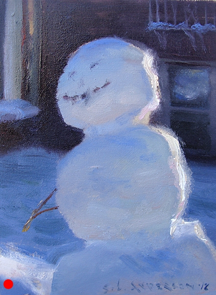Snowperson 7  ,  5 x 7 oil on panel Gleefully cool in the shadows. SOLD