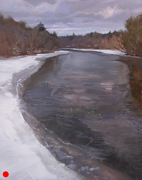Ice Forming on the Namekagon  ,  12 x 16 oil on panel Ah, the beautiful gray. SOLD