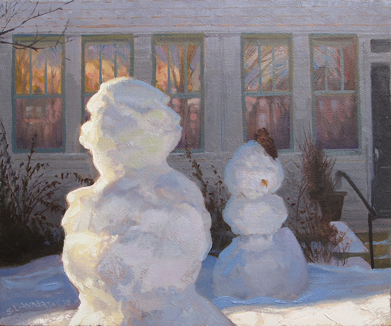Snowpeople 31 , 18 x 22 oil on linen.  She worries he spends too much time in the sun.