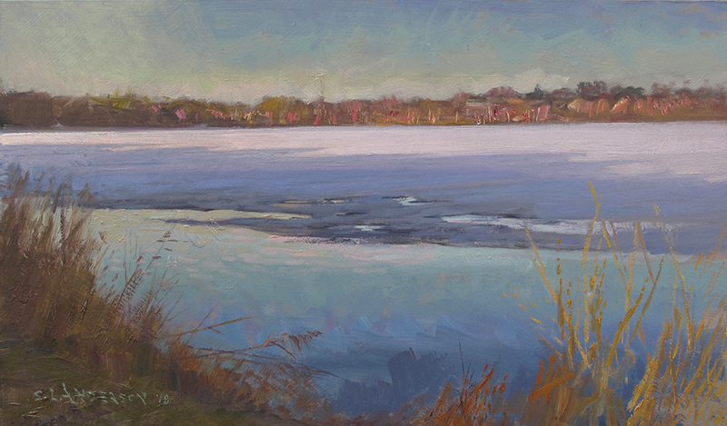 Spring Coming, Lake Harriet , 12 x 20 oil on panel