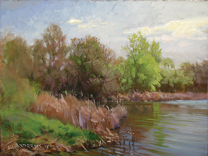May   Bulrushes , 12 x 16 oil on panel
