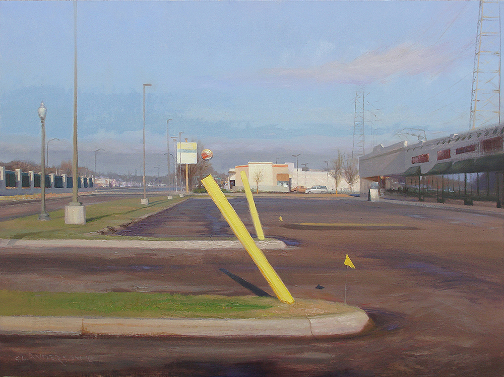 "Yellow Poles , 36 x 48"" oil on canvas, 2012"