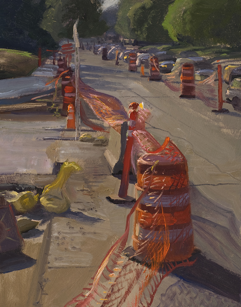 Cones  10 x 8 oil on panel   No highway or major road construction would be complete without these babies.