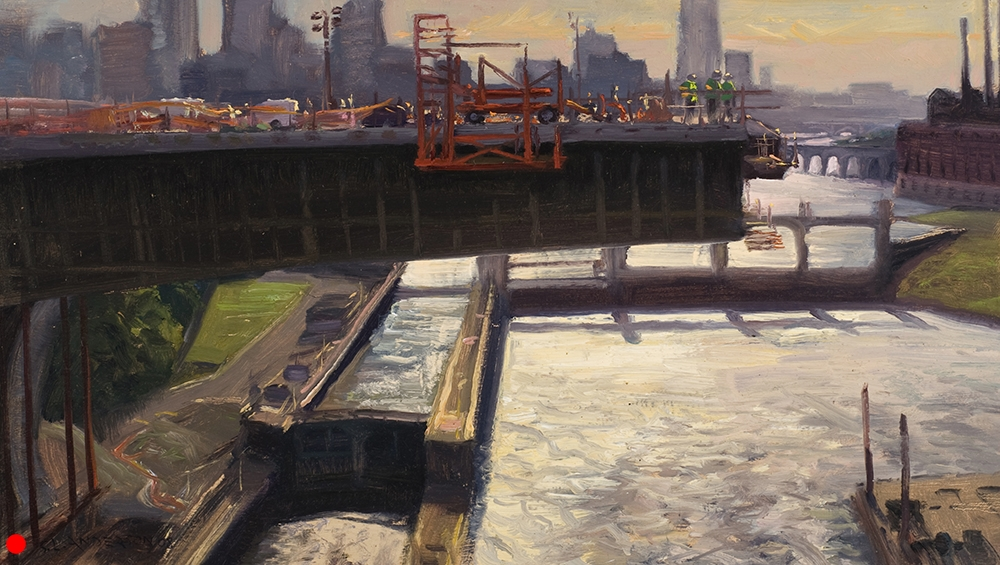 "Cantilever Above the Lock  12 x 20 oil on panel, in private collection   It just didn't make visual sense. As the span got longer, the weight of the thing defied gravity. If not for the frequency of retired engineers living in the nearby condos lecturing me on ""post tension concrete"" I would never have understood. Not that I really do now. But Google it, maybe you'll get it."