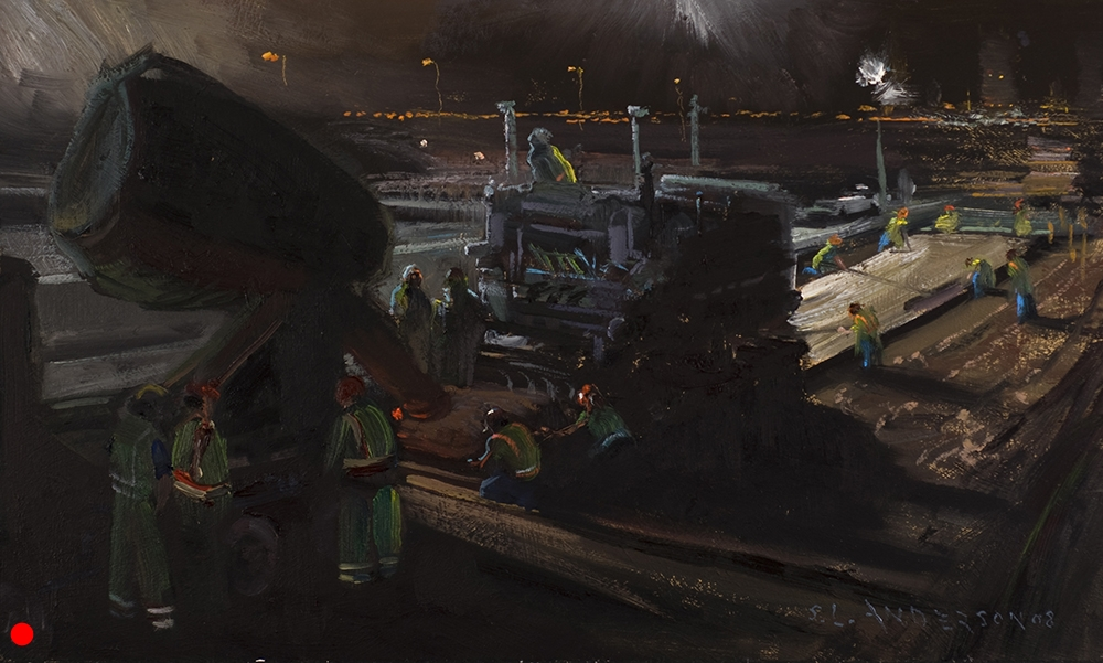 Laying Pavement at the On-Ramp  12 x 20 oil on panel, in private collection   I spent most of a night painting this. As the machines crept along, I moved my easel backwards foot by foot until they joined University Avenue early in the morning. Parts of the crew enjoyed watching the progress of my work as they paused for a few minutes before their part of the job was needed. One of the guys in the florescent vests standing in the deep shadow was enjoying his first day back on the job. He was one of the road crew atop the bridge doing resurfacing work when it collapsed, breaking his back.