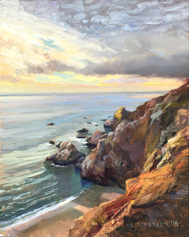 Point Reyes Coast, California  24 x 18 oil on panel Painted on location at the Sonoma plein air event 2018.