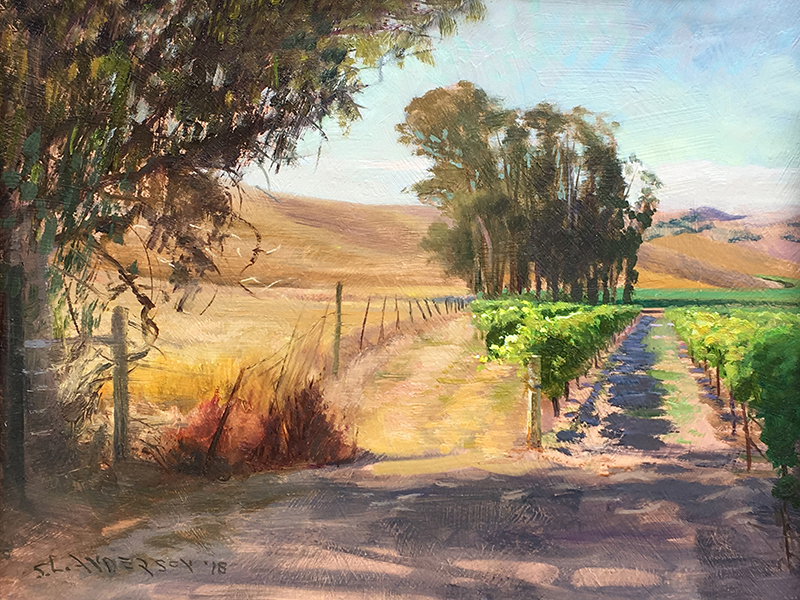 Vineyard Motif  12 x 16 oil on panel Painted on location at the Antonio Mountain Vineyards during the Sonoma plein air event 2018. They make a heckuva Chardonnay.