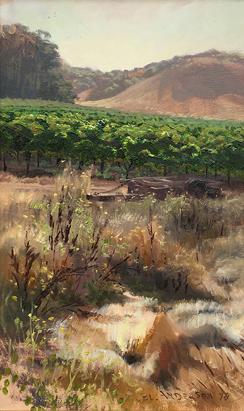 Vineyard Medley  20 x 12 oil on panel  Painted on location during the Sonoma plein air event 2018.