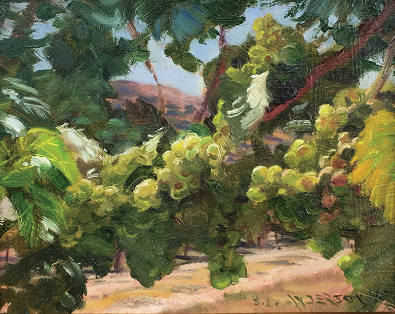 Grapes!  8 x 10 oil on panel Okay, not exactly an open space, but the vineyard sure has a lot of sky above it. Painted on location at the Sonoma plein air event 2018.
