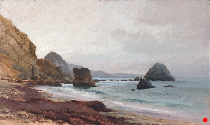 McClures Beach, Point Reyes (SOLD)  12 x 20 oil on panel Painted on location on the California coast during the Sonoma plein air event 2018. The Pixar founder John Lassiter bought it. He's a major funder of the event, which provides much needed money to the local school district's arts programs. It felt so primordial I half expected pterodactyls to soar by.