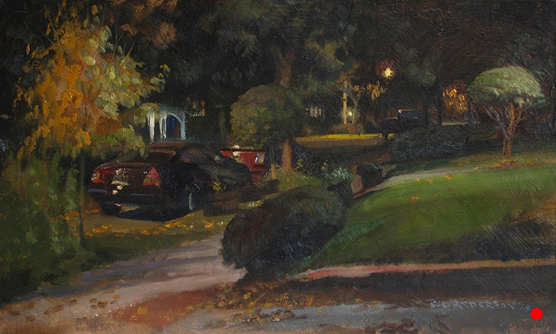 Nocturne: Mark's Car   12 x 20 oil on panel Pulling into my driveway after an afternoon painting session, I was tired and ready for dinner and a beer. I saw this scene nextdoor and it seemed evocative in some way. Maybe it was the colors, the alignment of things or the different colors of lights on the leaves. I especially liked the warm light from the streetlamp coming in from the left compared to the cooler light from my neighbor's front door to the right. (SOLD)
