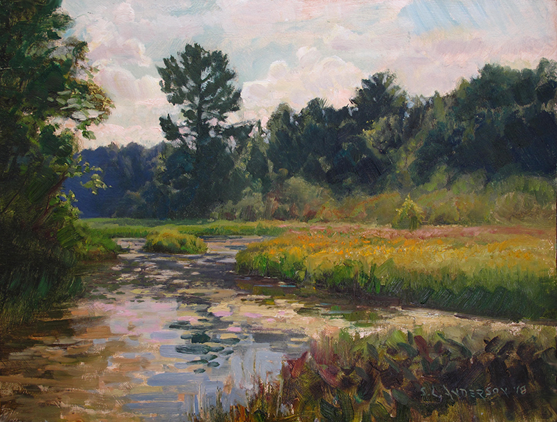 Webb Creek  oil on panel, 18 x 24 Painted near the confluence of the Namekagon and St. Croix rivers in Wisconsin.