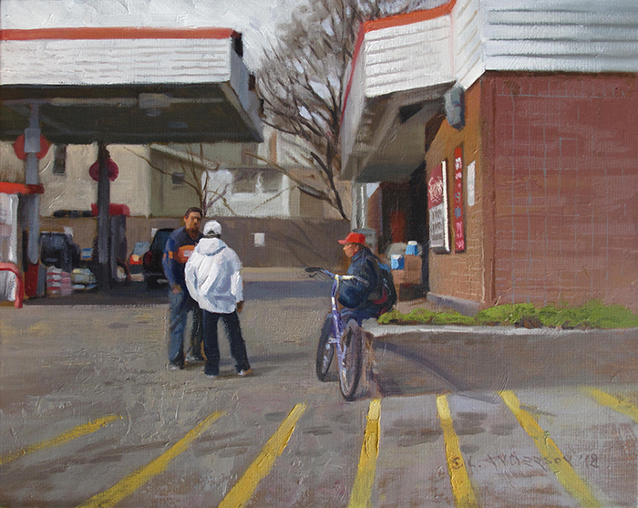 Super America  18 x 24 oil on panel A gathering place. Get some gas, maybe a little junk food and some smokes. Or just hang out a bit.
