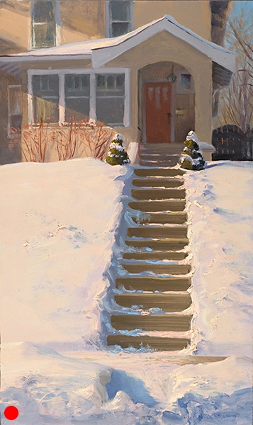 Front Steps , 12 x 20 oil on panel Here's another scene from my neighborhood. The color in the shadow seemed to glow. (SOLD)