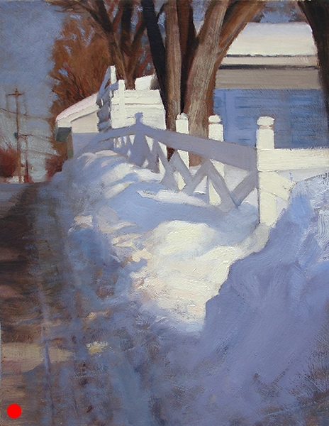 Fence in the Alley,    16 x 12 oil on panel (SOLD) I like to paint sharply foreshadowed elements. And the subtle differences of white things in sun and shadow.