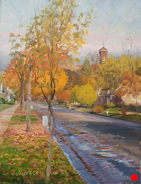 Fall Street Cleaning , 12 x 16 oil on panel (SOLD)