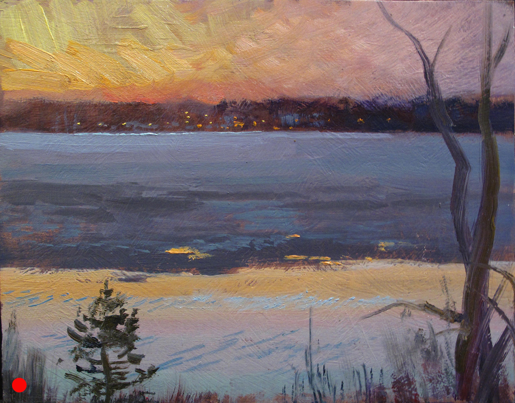 Ice Out Out, Lake Harriet  8 x 10, oil on panel In the spring it melts from the outside in. In the fall, it freezes that way as well. (SOLD)