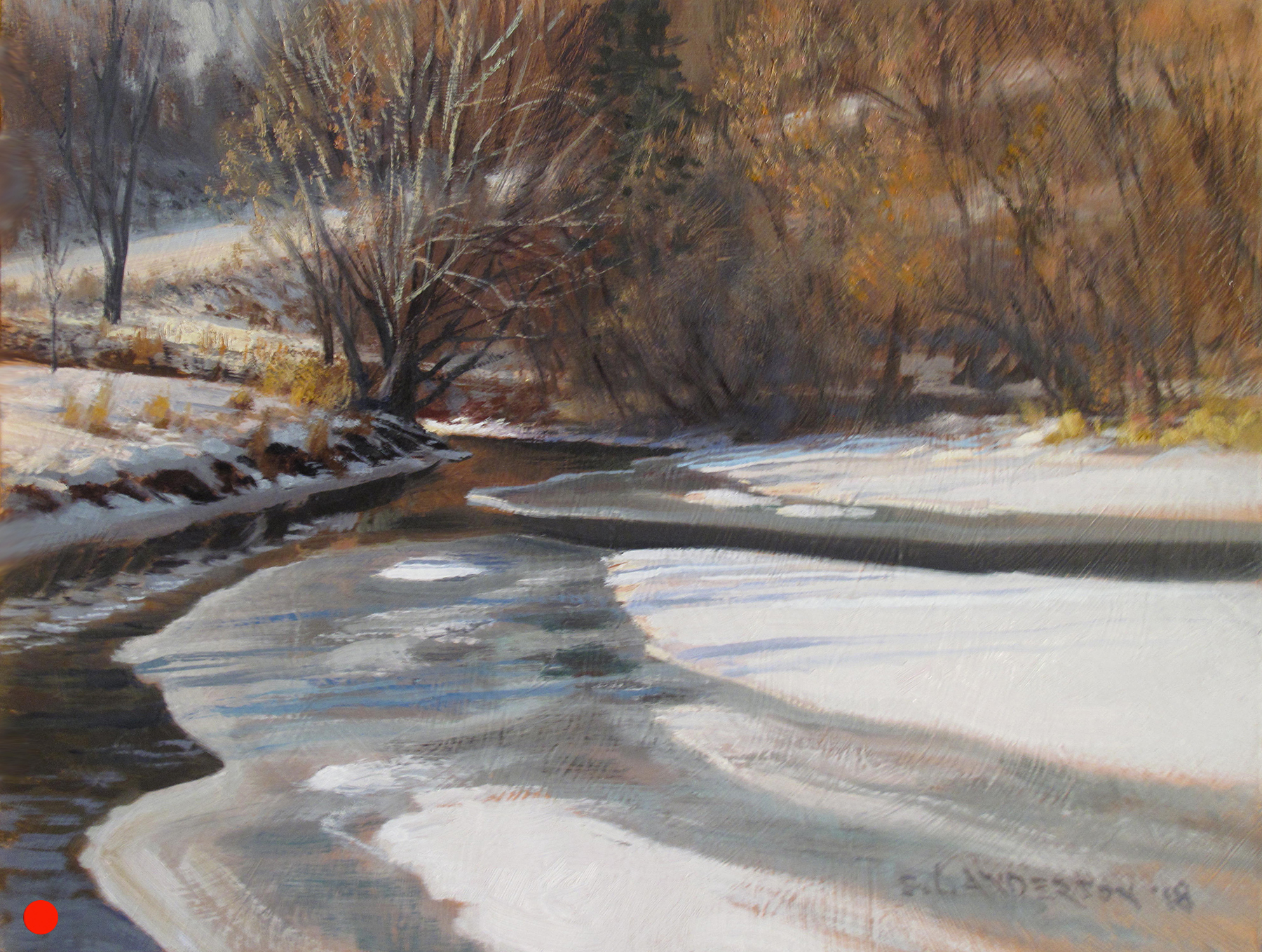 Bassett Creek at Wirth Park   (SOLD) 12 x 16 oil on panel Painted on location at Theodore Wirth Park in Minneapolis. My vantage point is just off the golf course's brutal uphill 10th hole. Brutal for me, that is.