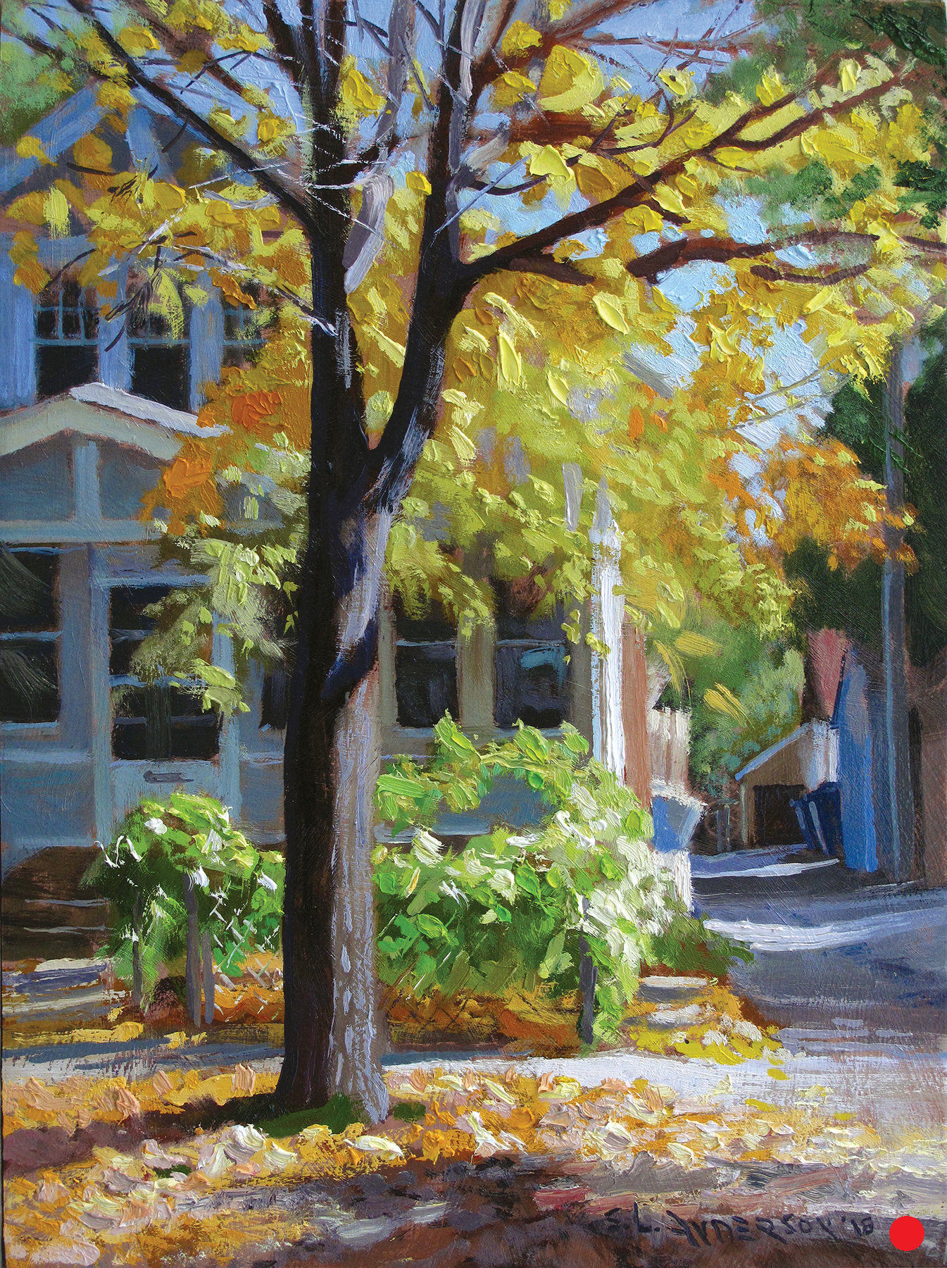 Fall Colors in the Neighborhood  (SOLD) 16 x 12, oil on panel