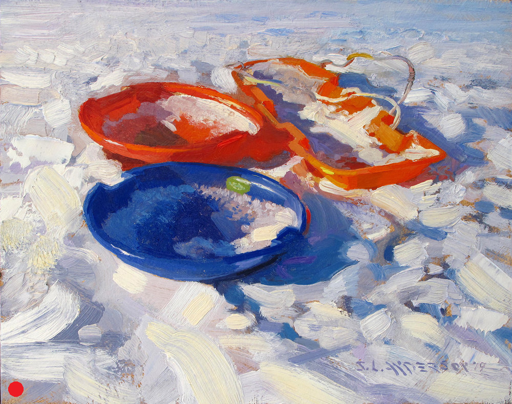 Three Sleds   (SOLD) 8 x 10 oil on panel
