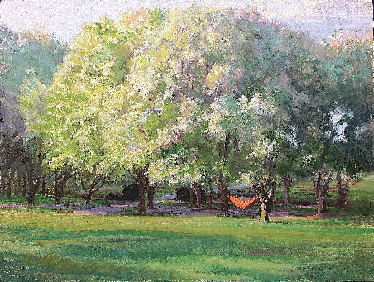 Hammock and Blossoms , 12 x 16 oil on panel