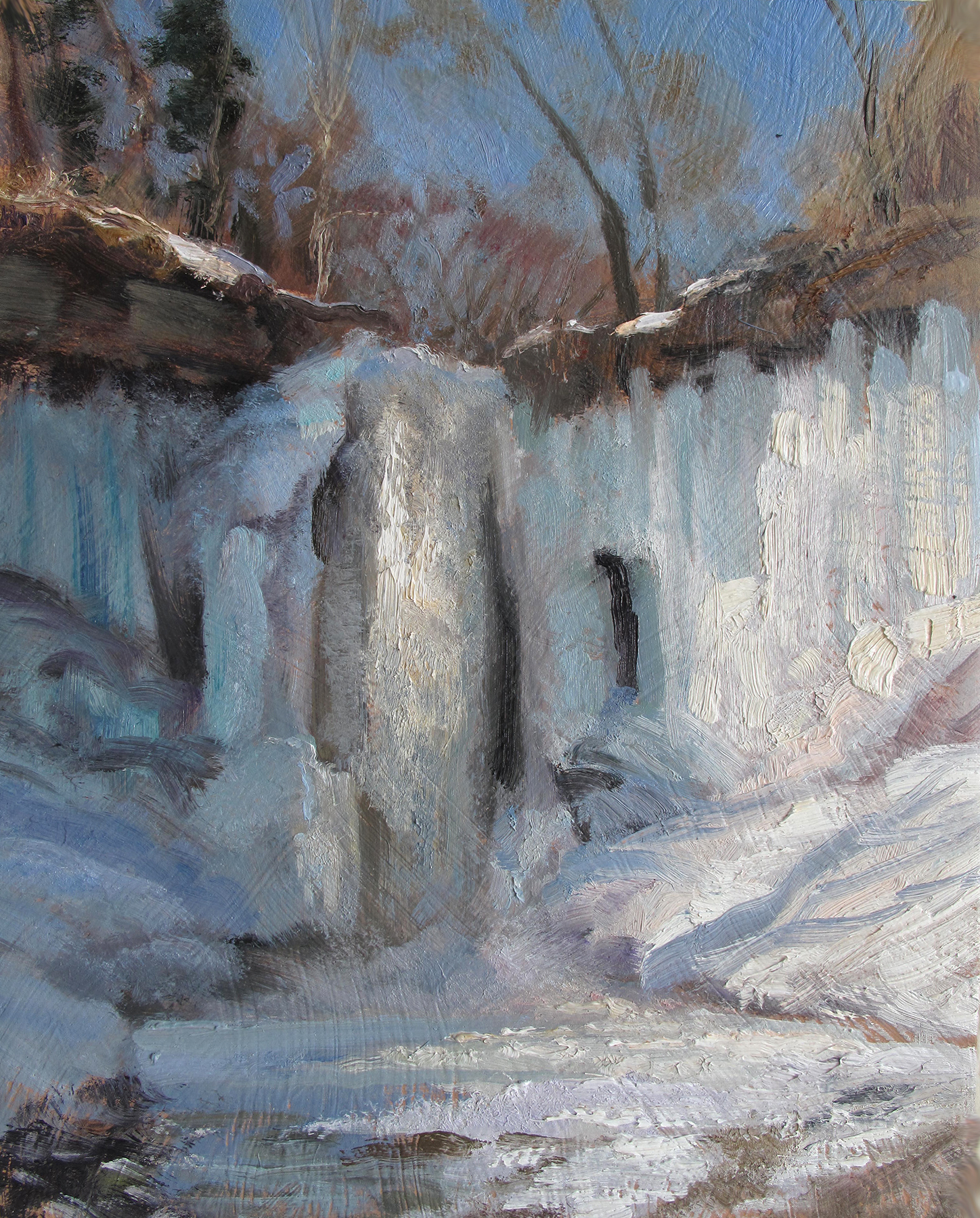 Minnehaha Falls 2019  10 x 8 oil on panel  I paint the falls most every year. It's a fun subject to study on sunny or cloudy days. The ice forms differently each winter and always has a peculiar aqua color. I've been told that's from the ice molecules under stress.