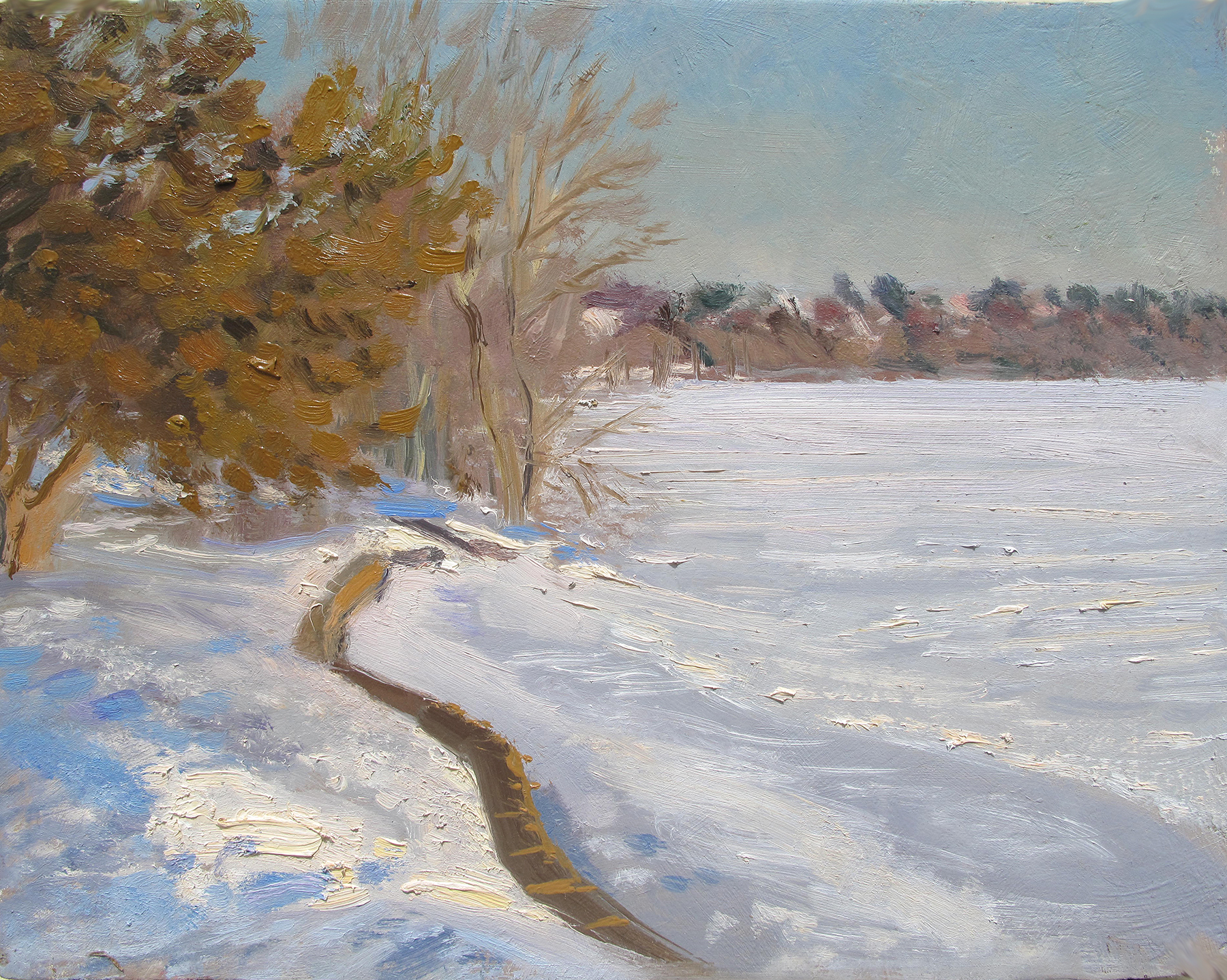 Winter on Lake Harriet   8 x 10 oil on panel  This direct late afternoon sun on the trees is an appealing light effect for me. Not many shadows, just pure light. But mostly, the shape of the wall caught my eye.