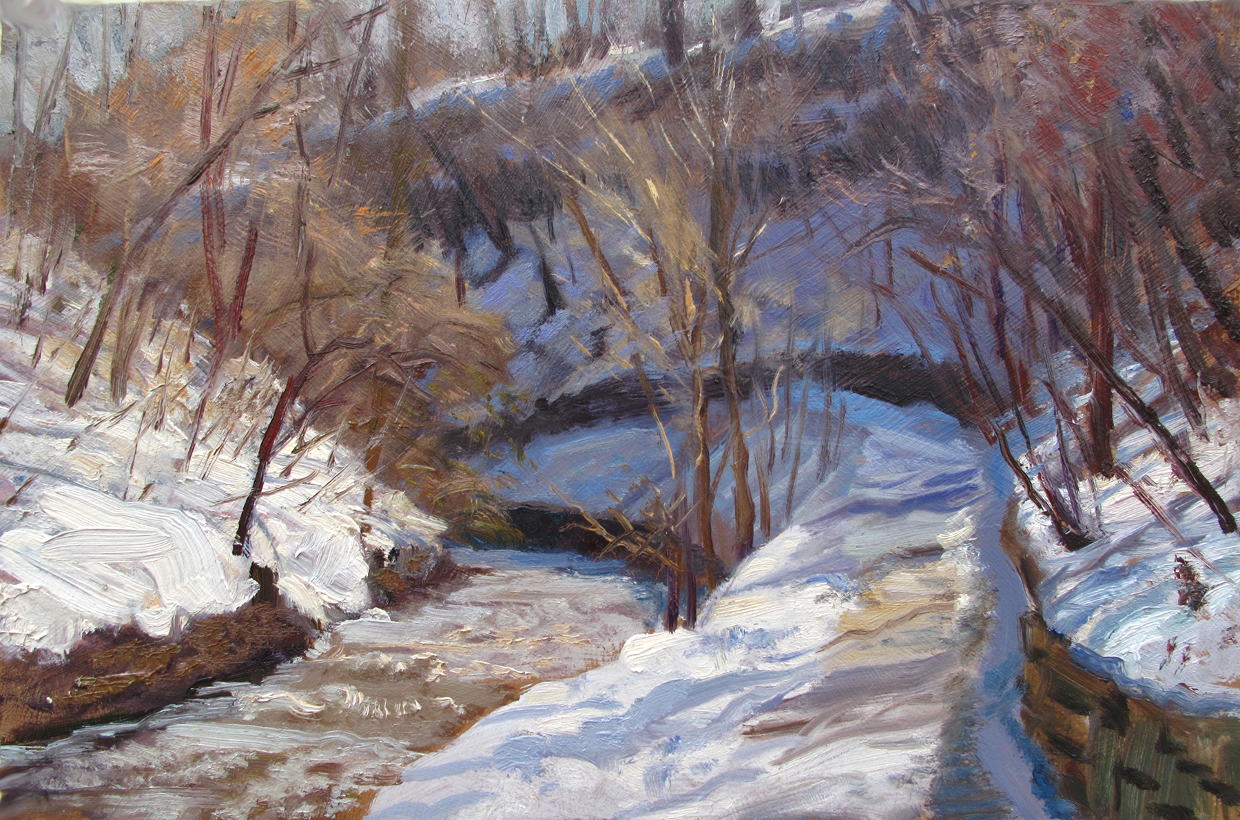 Minnehaha Creek Below the Falls  11 x 7 oil on panel  The shape of the path, it's retaining wall, and the creek is a lot of fun.