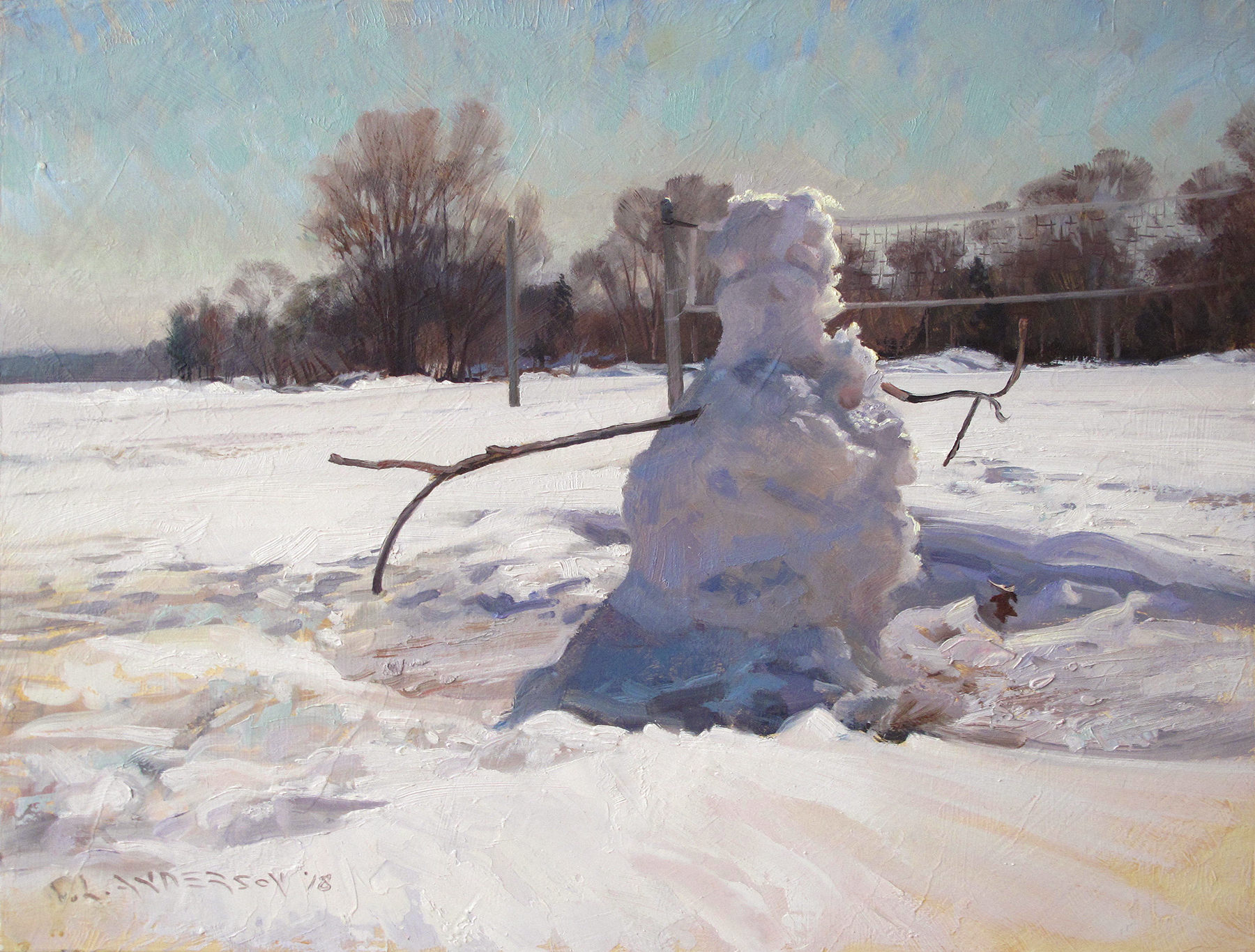 Snowperson 35  18 x 24 oil on panel  She can dream of beach volleyball, can't she?