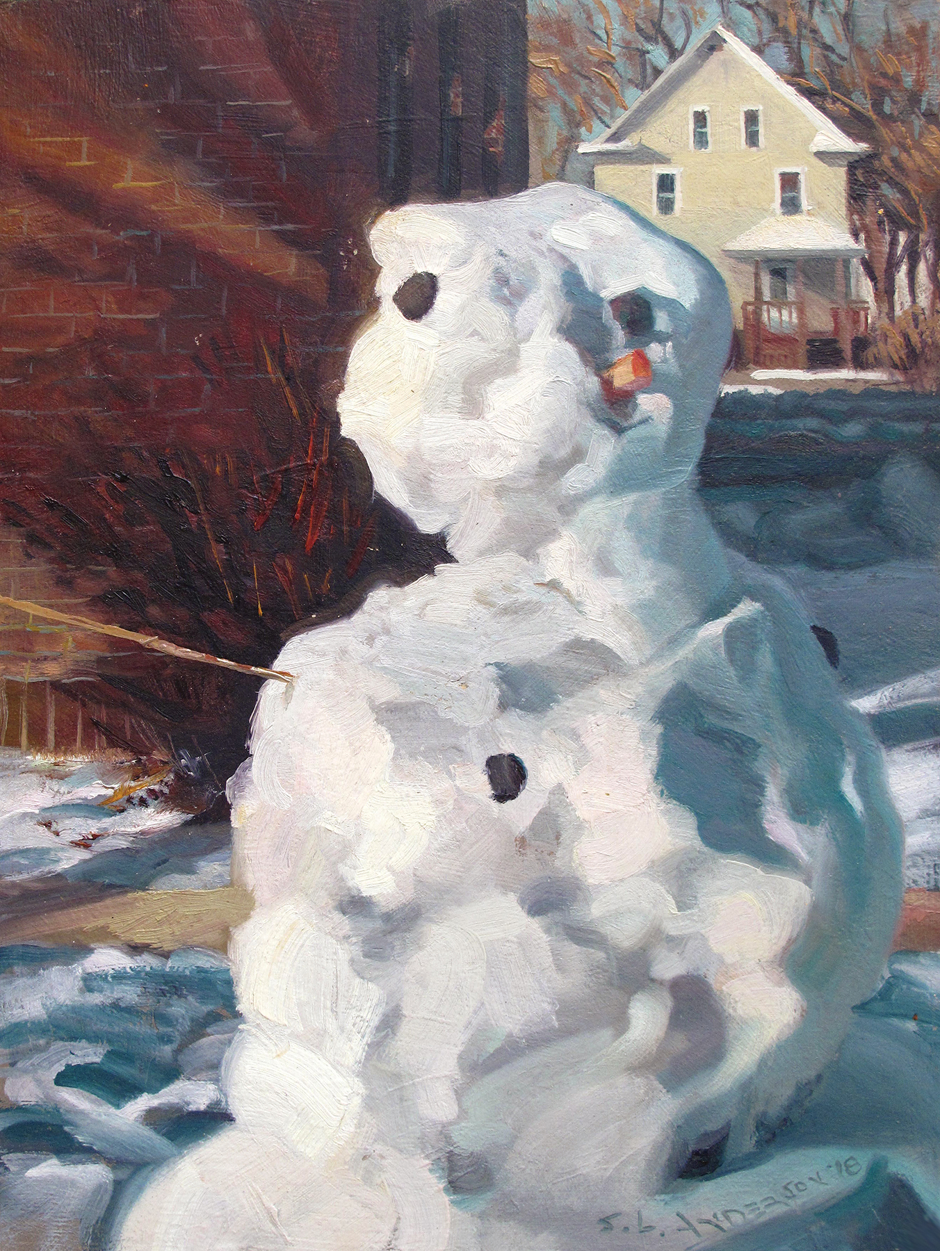 Snowperson 41  16 x 12 oil on panel  I was going to write that this one just read the Mueller Report, but I won't.