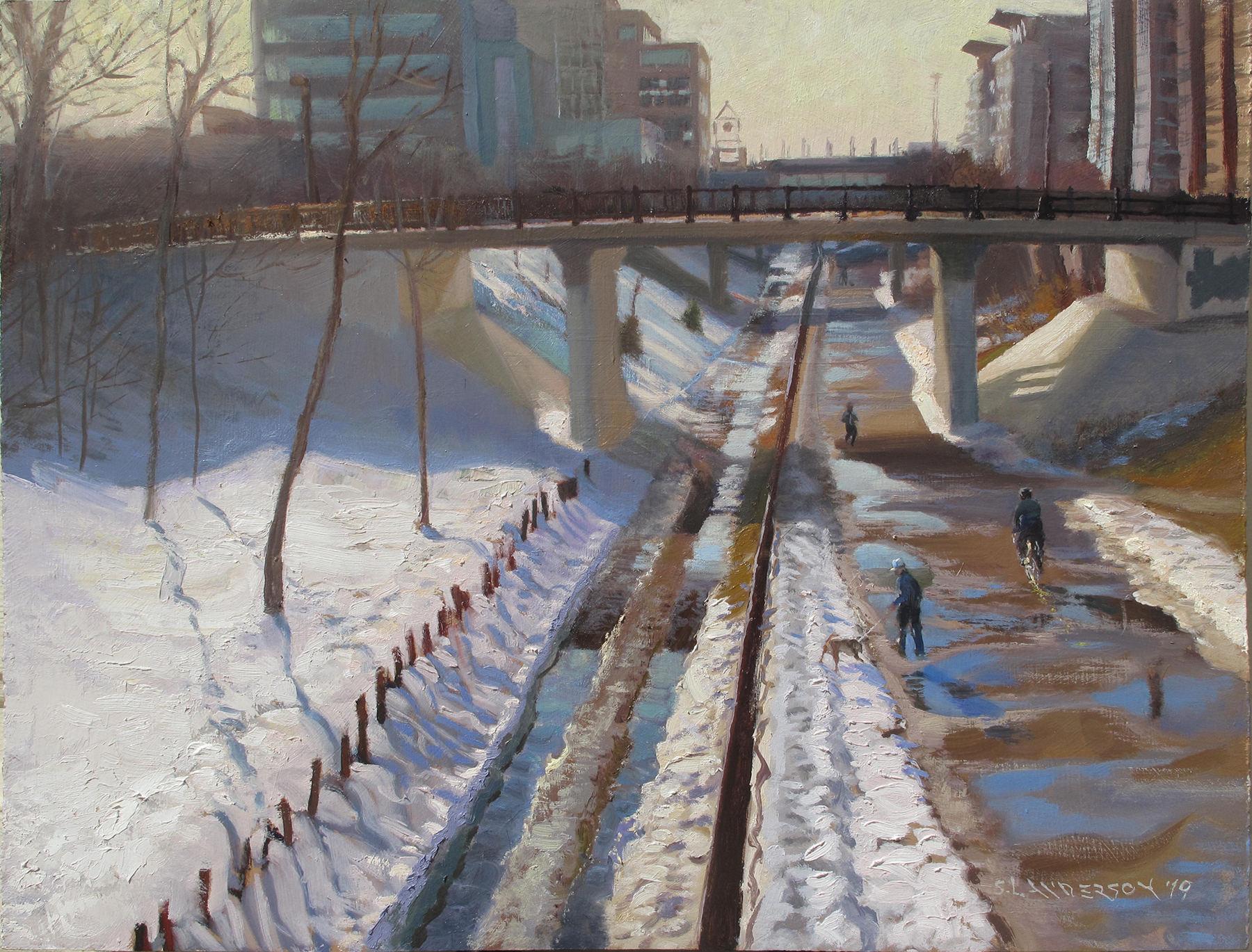 Midtown Greenway, Winter  18 x 24, oil on panel A favorite place in Minneapolis for bikers, walkers, joggers, and doggies out on parade.
