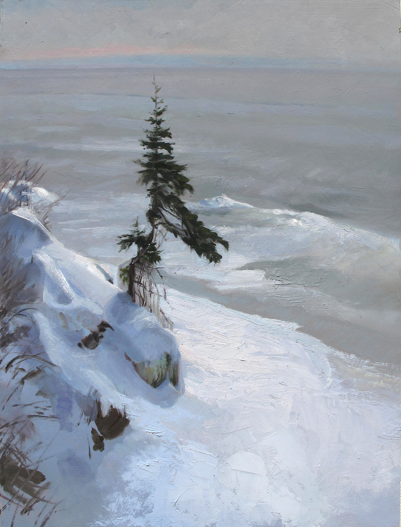 Superior Shore, Little Pine  20 x 16, oil on panel