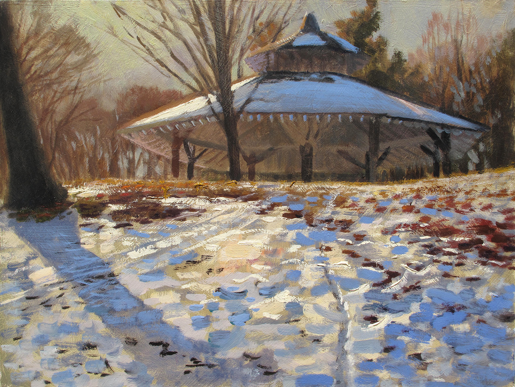 """Beard's Plaisance,  12 x 16, oil on panel Beard was some dude in Minneapolis back in the 1890s who owned this land that the Park Board bought from him way back when. """"Plaisance"""" is a french term for pleasant ground. This open-sided structure hosts a lot of grad parties and picnics. It seems like a good place for a plein air painter to stand when it's raining but there isn't much to look at,"""