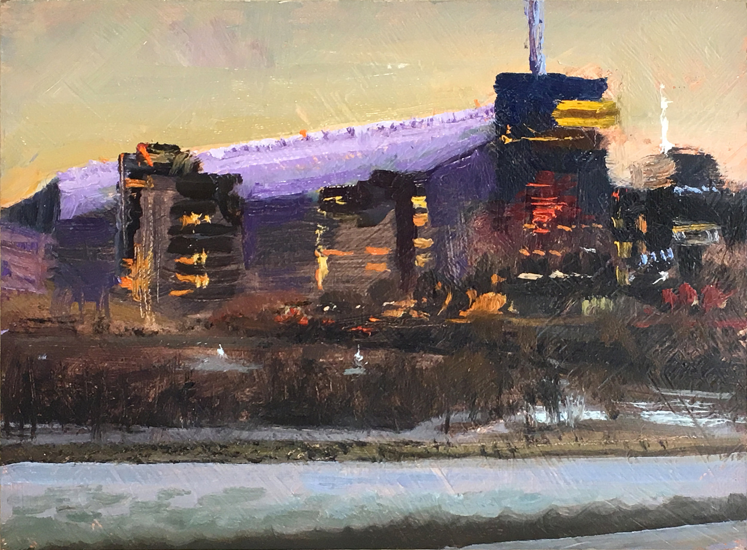 Guthrie Theater (and that Other Building)  6 x 8, oil on panel The Stone Arch Bridge on the Minneapolis riverfront offers many paintable views. After painting a sunset view of the other side of the river, I turned and saw this.