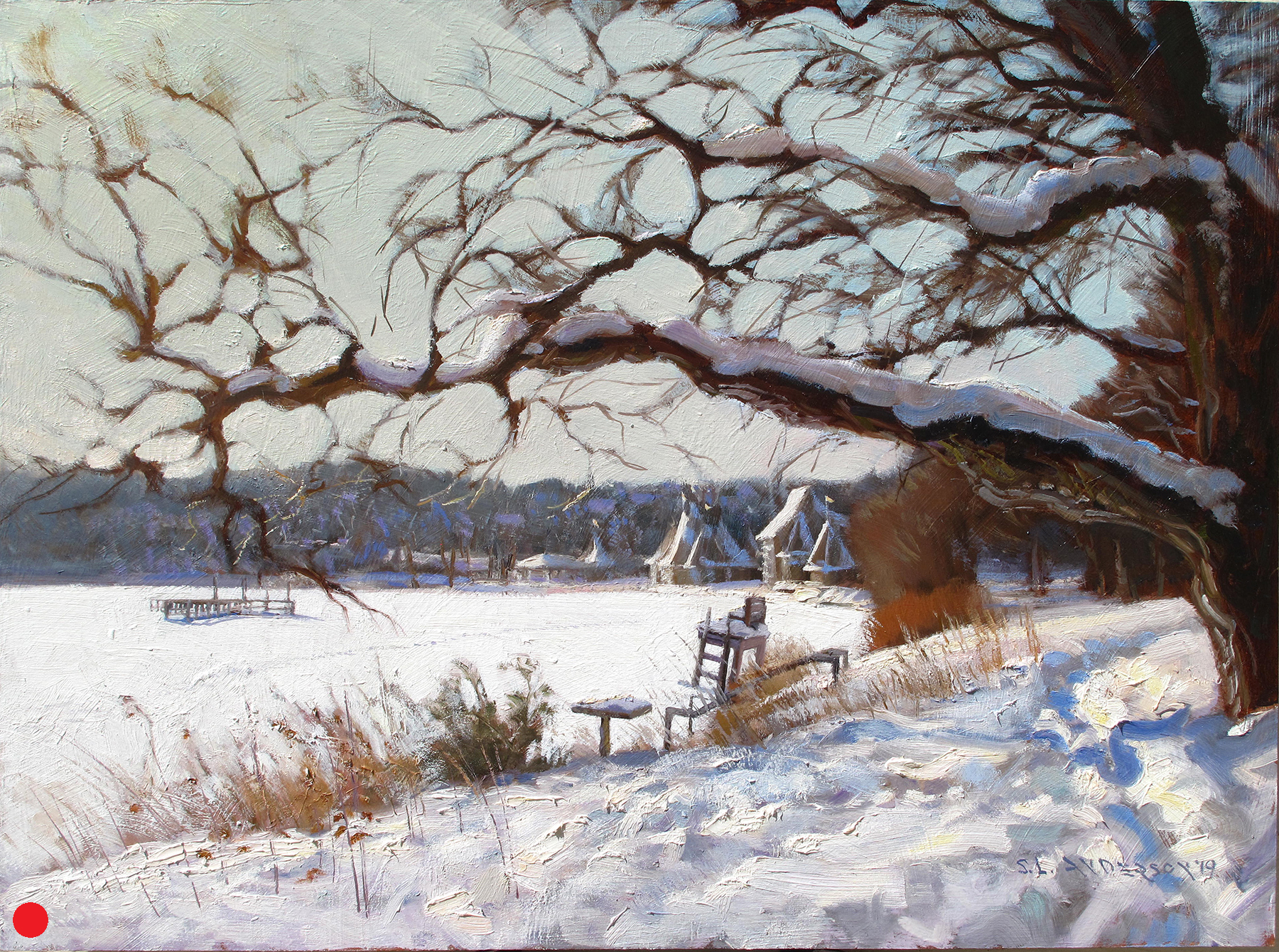 Lake Harriet View From North Beach   (SOLD) 18 x 24 oil on panel  Studio painting from a small 8 x 10 panel created on location. I had to sit in the snow to get the bandshell to fit in that window below that big branch. I got a kold keester after while. Many large branches cantilever from the trees oddly out across the walking path.